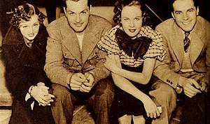 Johnny Downs - Arline Judge, Kent Taylor, Wendy Barrie, and Johnny Downs in College Scandal (1935)