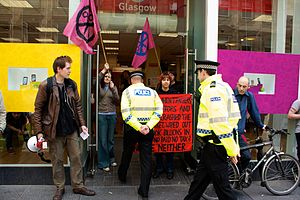 UK Uncut - UK Uncut protest at a Vodafone shop in Glasgow on 30 June 2011