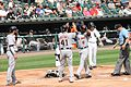Justin Upton, JD Martinez, RF, and Victor Martinez, DH, congratulate Justin Upton after 3-Run homerun, Left Fielder for Detroit Tigers, 2016-09-07 versus Chicago White Sox first shot.jpg