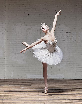 Ballet - This is a photo of a ballerina up on relevé doing an arabesque.