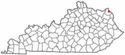 Location of Greenup, Kentucky