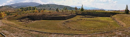The remains of Kamenica Tumulus in the county of Korce. Kamenice Tumulus, Albania 2018 01.jpg