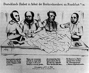Caricature of the creation of the nation-state. From left to right: Heinrich von Gagern, Alexander von Soiron, Carl Theodor Welcker and Friedrich Daniel Bassermann.
