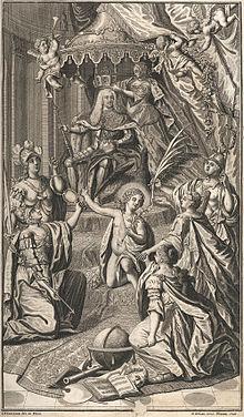 Allegorische Darstellung der Kaiserkrönung Karls VII. mit der Reichskrone, 1742 (Quelle: Wikimedia)
