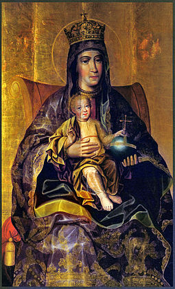 Theotokos and The Child, the late-17th-century Russian icon by Karp Zolotaryov, with notably realistic depiction of faces and clothing. Karp Zolotaryov Theotokos Late 17th century.jpg