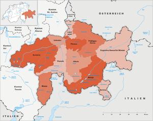 Prättigau/Davos Region - Image: Karte Kanton Graubünden Regionen 2016