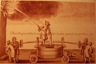 "Great Fire of London - An advertisement for a comparatively small and manoeuvrable seventeenth-century fire engine on wheels: ""These Engins, (which are the best) to quinch great Fires; are made by John Keeling in Black Fryers (after many years' Experience)."""