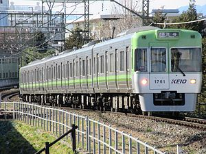 Keio 1000 series - Green-liveried Keio Inokashira Line 1000 series set 1711 in January 2016