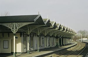 Recently restored Kettering railway station looking south along platform 2