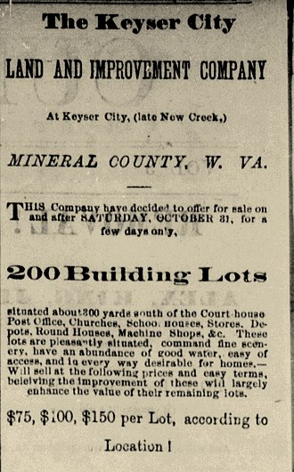 Keyser, West Virginia - Early advertisement for land in Keyser, from the Cumberland Daily Times, April 23, 1875.