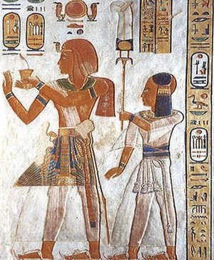 Khaemwaset (20th dynasty) - Khaemwaset (right) with his father Ramesses III.