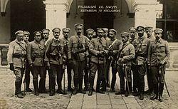 J�zef Pi�sudski ze swoim sztabem w Kielcach w 1914 r.