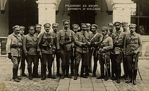 Kielce - Józef Piłsudski with the Polish Legions in Kielce, in front of the Governor's Palace, 1914
