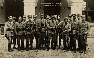 History of Poland during World War I - Col. Józef Piłsudski with his staff in front of the Governor's Palace in Kielce, 1914