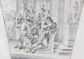 King Pedro kneels in worship before a statue of the Virgin & Child (decoration for the memorial service to King Pedro II of Portugal, Rome, S. Antonio de' Portoghesi, 1707) - Carlo Fontana.png