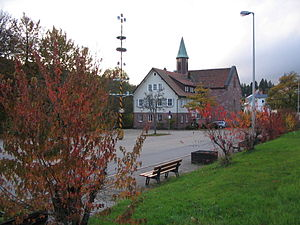 Kniebis - The evangelical church and primary school on the Kniebis