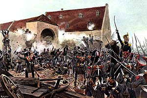 The storming of La Haye Sainte by Knötel