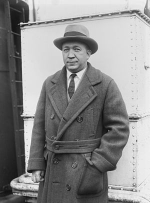 English: Knute Rockne on a ship's deck