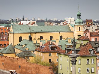 St. Martin's Church, Warsaw - View of St. Martin's Church from a terrace in Castle Square.