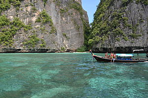 Phi Phi Islands - Beach surrounded by limestone cliffs, typical of the islands