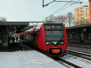 S-train (Copenhagen) - An S-train with coupler cover on the F line at Ålholm Station. Photo by Kurt Rasmussen, used with permission.