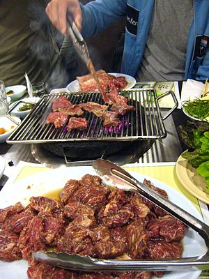 Galbi, marinated short beef or fork ribs in so...