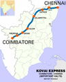 Kovai Express MAS - CBE Route map.png