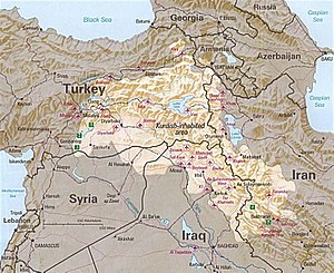 Kurdistan - Image: Kurdish inhabited area by CIA (1992) box inset removed