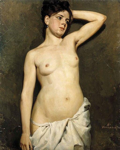 Kvinnlig modellstudie, målning av Albert Edelfelt från 1874