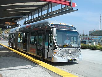 Los Angeles County Metropolitan Transportation Authority - A Metro Liner vehicle at the North Hollywood station on the Orange Line.