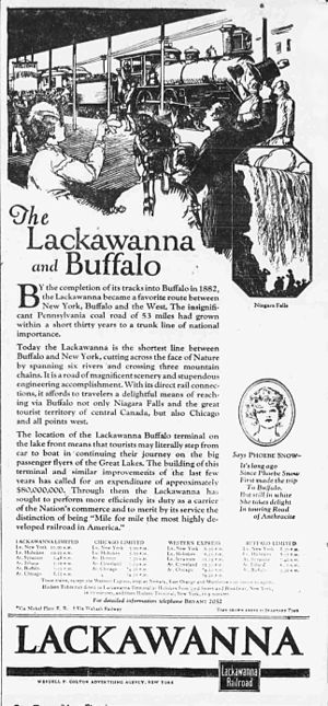 Phoebe Snow (character) - Ad for travel along the Lackawanna line in 1922. A portrait of Phoebe is depicted at the lower right.