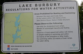 Lake Burbury - A regulation sign at Lake Burbury.