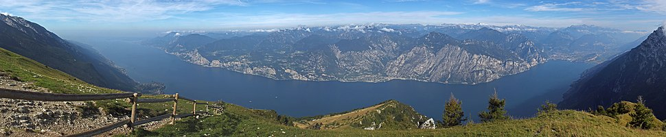 Panoramic view from Monte Baldo of Lake Garda and the communes of Riva Del Garda and Nago-Torbole at the far right