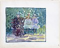 Large Boston Public Garden Sketchbook- A woman and two girls sitting in the park MET DT3411.jpg