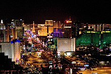 A nighttime view of the Las Vegas strip.