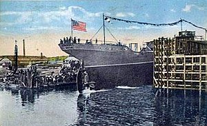 Merchant Shipbuilding Corporation - Launch of MSC's first ship, SS Sudbury, on 29 September 1917.