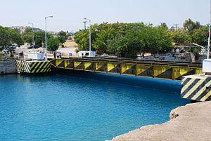 Isthmia, Corinthia - The submersible bridge of Corinth Canal in Isthmia