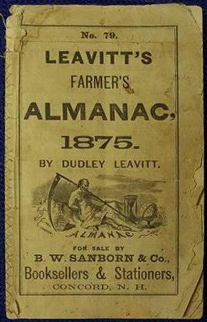 Dudley Leavitt (publisher) - Cover of Leavitt's Farmer's Almanac, 1875, Concord, New Hampshire