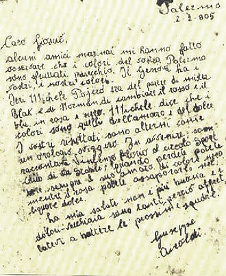 U.S. Città di Palermo - Airoldi's letter in which he suggests to choose pink and black as official colours
