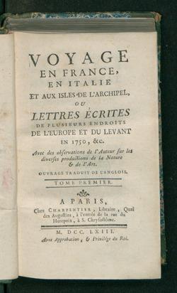 18th Century Grand Tour of Europe
