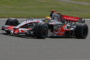 Lewis Hamilton driving for McLaren at the 2008...