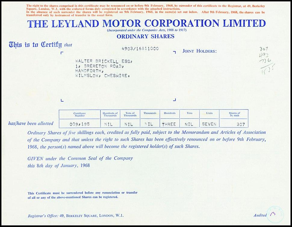 Leyland Motor Corp 1968