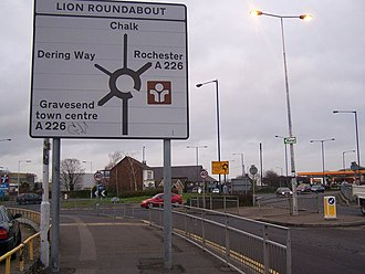 A226 road - Lion Roundabout on A226 Rochester Road (near Gravesend)