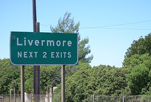 A freeway sign in Livermore.