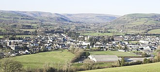 Llandovery - Llandovery from hill to south