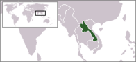 A map showing the location of Laos
