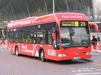 London Buses route 25 - Stagecoach London hydrogen fuel cell Mercedes-Benz Citaro at Stratford bus station in April 2007