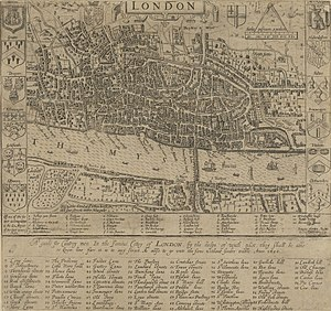 John Norden - John Norden's map of London in 1593, engraved by Pieter van den Keere. There is only one bridge across the Thames, but parts of Southwark on the south bank of the river have been developed.