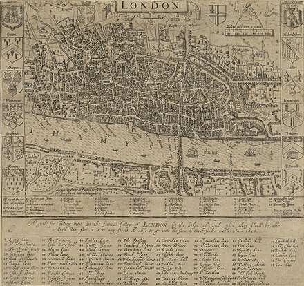 Map of London in 1593. There is only one bridge across the Thames, but parts of Southwark on the south bank of the river have been developed. London - John Norden's map of 1593.jpg