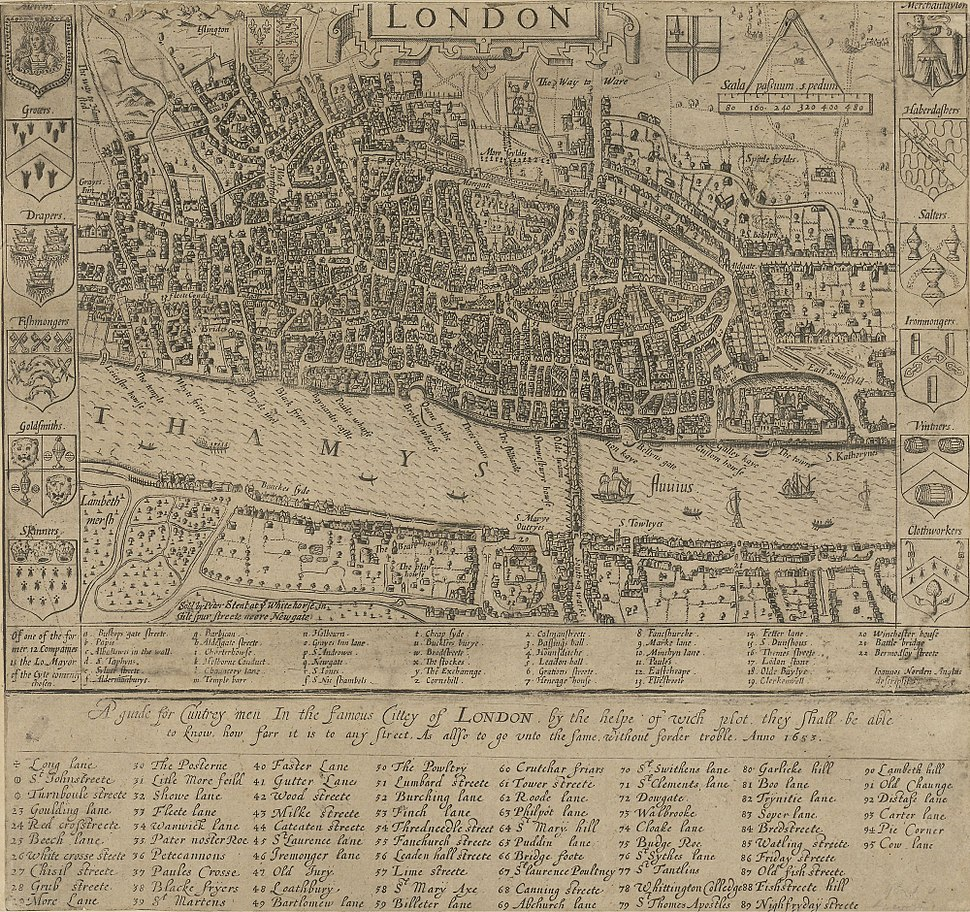 London - John Norden's map of 1593